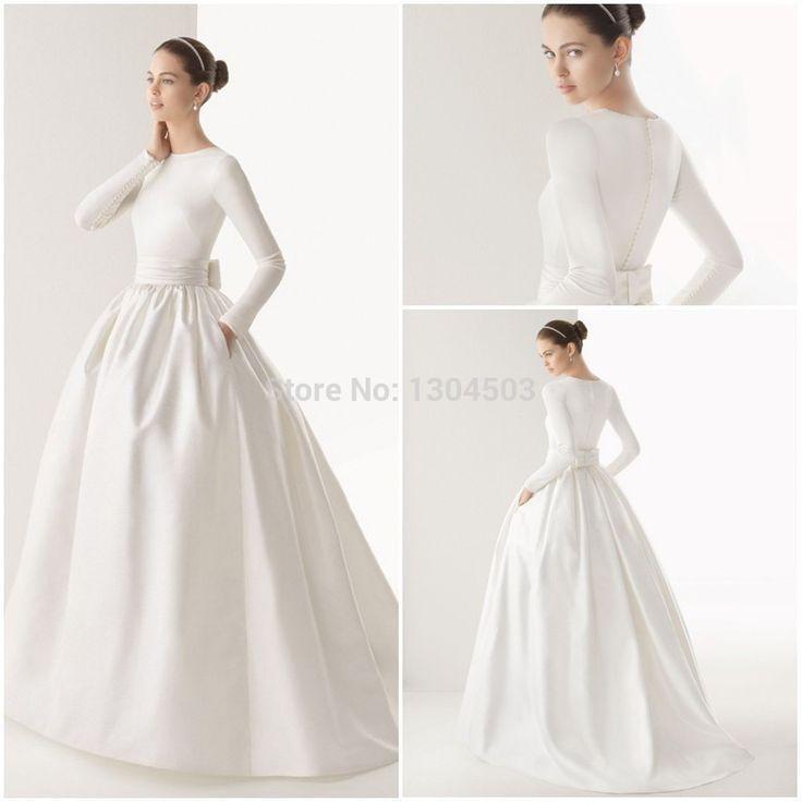 sabrina neckline ball gown long sleeve wedding dress - Google Search