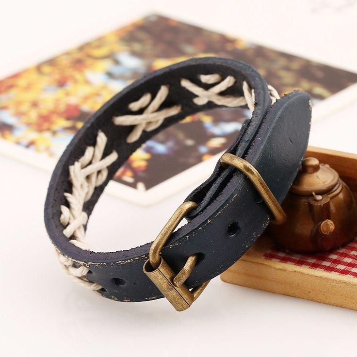 New Hologram Bracelets Movie Rock Bikers Wide Woven Leather Bracelets Men Casual Vintage Punk Bracelet Jewelry - free shipping worldwide
