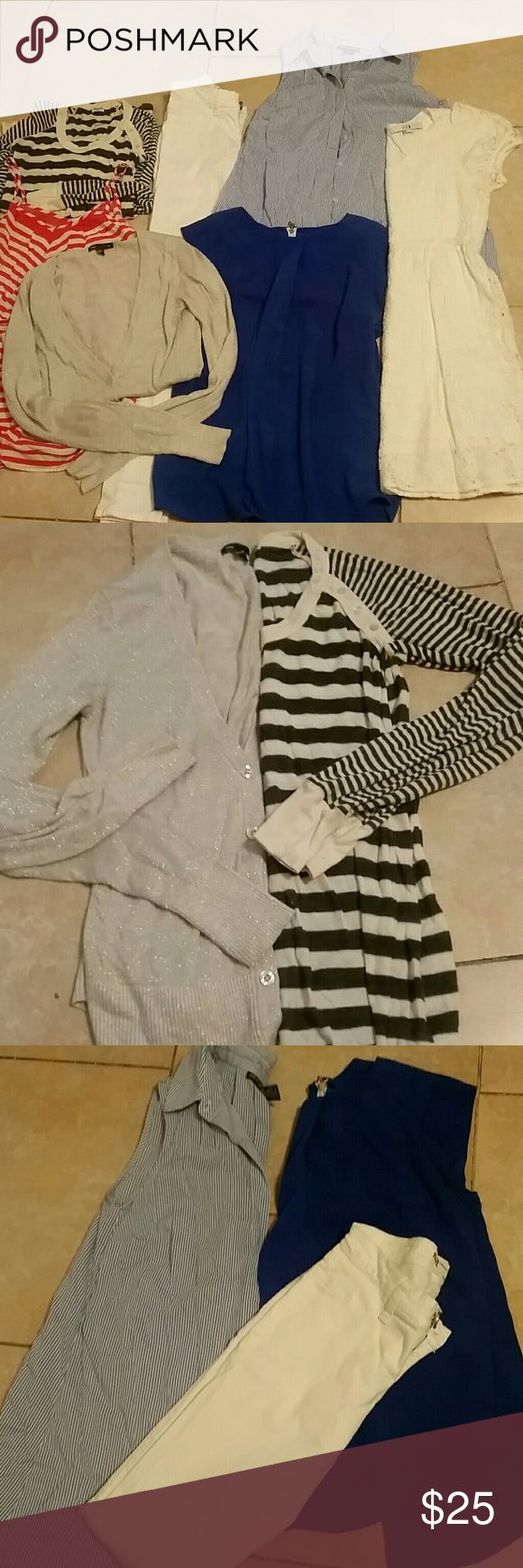 Lot of woman clothes small to extra small Super cute lot. Mix and match clothes. Clean and fashionable. Romper, white lace short dress, white pants xs size, blur sleeveless top, blue stripe top, stripped  top with sleeves  and  silver cardigan  from gap. GAP Other