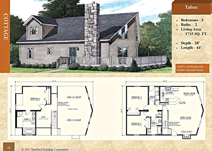 modular chalet cottage floor plan tahoe 1715 sq ft stratford home center 3 bed 2 bath four module configuration prow front raised snack bar - Clayton Homes Floor Plans 3 Bedrooms 28 Quot Width 44length