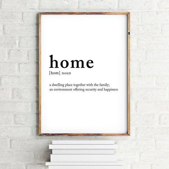 Home Definition Digital Print Home Meaning Home Posters Noun Definition Home Print Definition Print 70x100 50x70 A4 24x36 Wall Art Prints Etsy Wall Art Home Poster