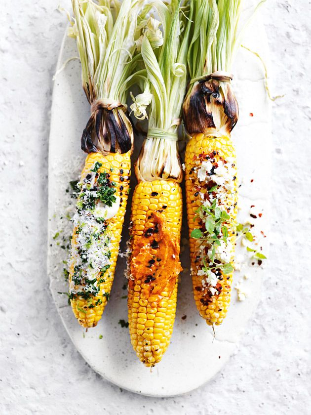 char-grilled corn with trio of toppings from donna hay