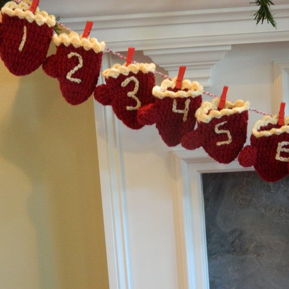 Advent Calendar Christmas Countdown Mittens by SantaRosaStitches