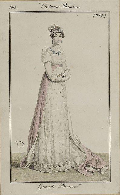A dress and train grande parure. Not sure that a train necessarily means court wear but it might do! 1812 costume parisien
