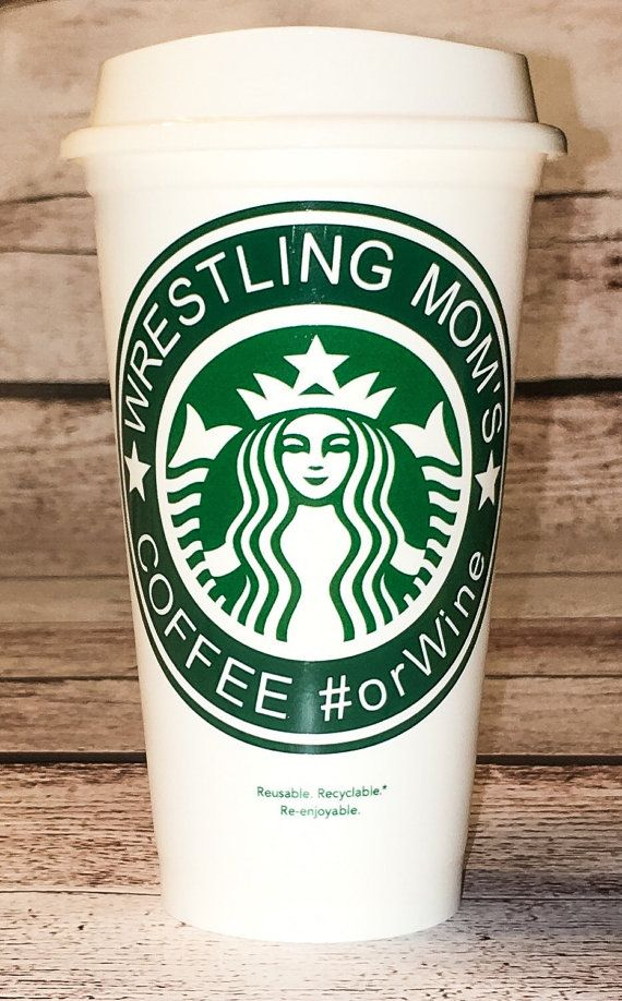 Wrestling Mom's Starbucks Coffee or Wine by ThatsWhatSheSews