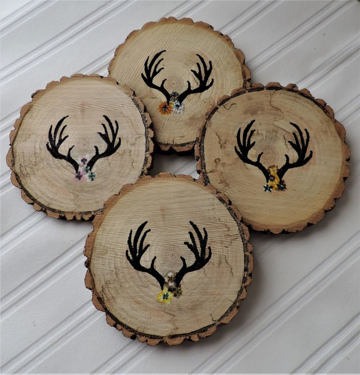 Wood Coasters/natural wood slice/hand-painted antlers & flowers/woodland style/rustic home decor/country shabby chic style/antlers by BirdOnABarbedWire on Etsy