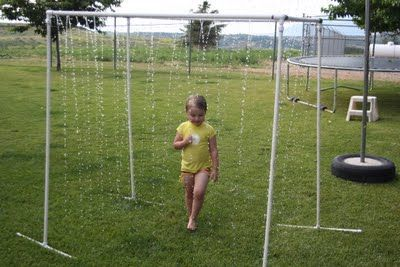 35+ Fun Activities for Kids to Do This Summer --> PVC Pipe Sprinkler #kids #fun_activity #summer