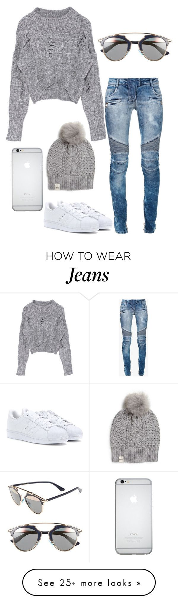 """Untitled #266"" by rayame on Polyvore featuring adidas, Balmain, UGG Australia and Christian Dior"