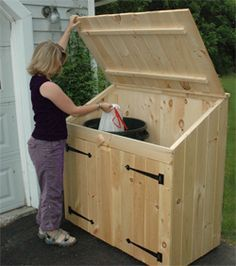 cedar outdoor storage sheds for trash can and recycling bin storage - Kitchen Trash Can Ideas