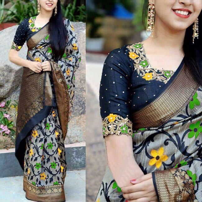 Bollywood Saree Indian Party Wear Pakistani Designer Sari Blouse Ethnic Wedding #INDIANCULTURE #SareePrintwithEmbroideredBlouse