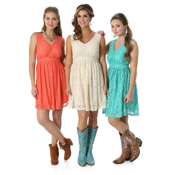 Wrangler® Western cream, turquoise and coral lace sleeveless v-neck dress with banded waist.