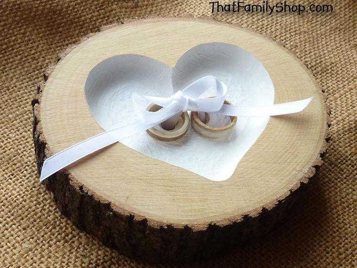 Recessed Heart Ring Bearer Pillow with Ribbon Tie-Down, Rustic Log Ring Dish Wedding Engraved