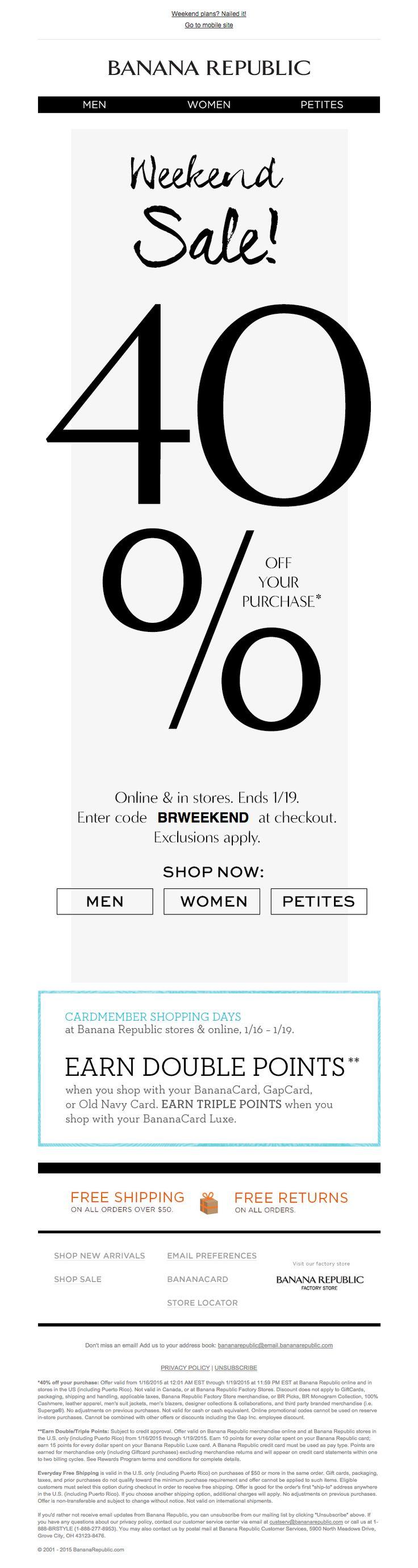 Banana Republic weekend sale 40% off