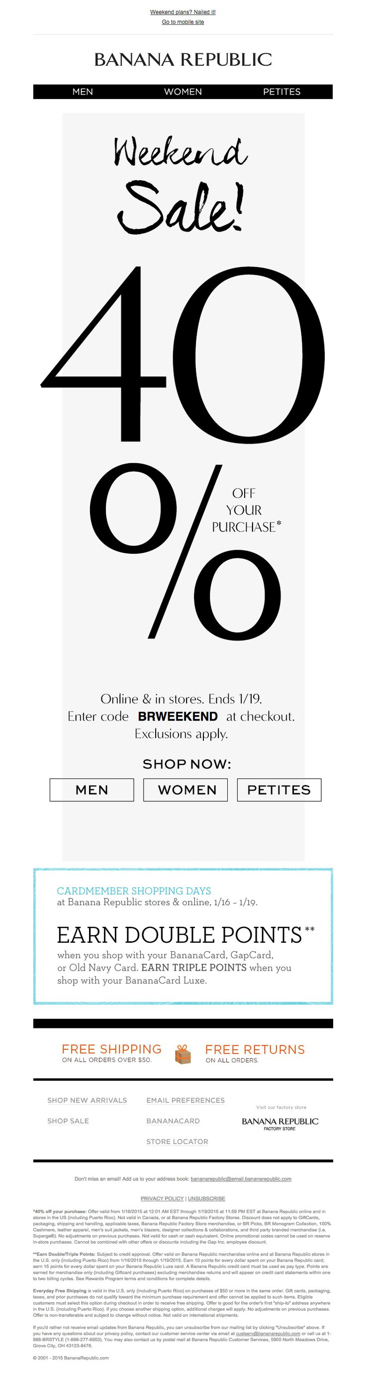 Banana Republic weekend sale 40% off