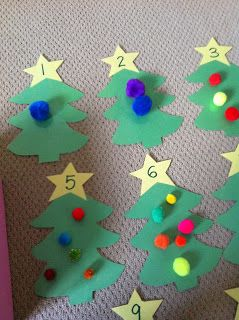 Here are some of the Christmas activities that Butterfly has been enjoying.   I had cut out Christmas trees from green paper and glued numb...