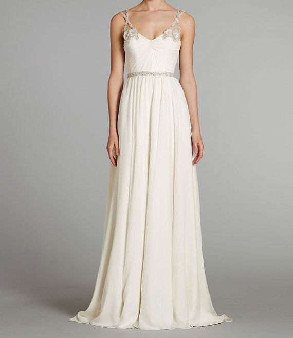 Beaded Strap Chiffon Wedding Dress   40 Unique Wedding Dresses You Can Buy Online. There are some cute and inexpensive ones.