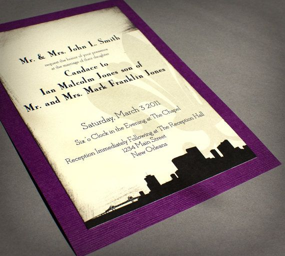 New Orleans Wedding Invitation Skyline Black Cream Purple Handmade Custom  Personalize Bridal Other Cities Available | Milwaukee, Colors And Wedding