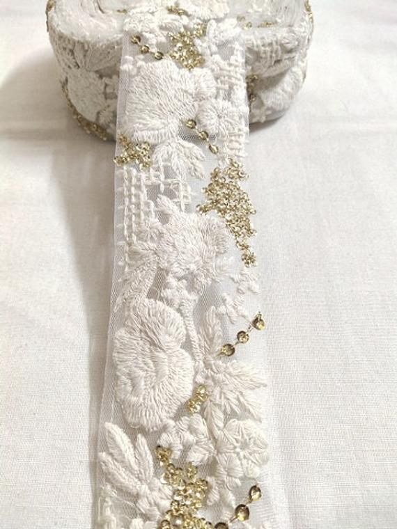 3 D 1 Yard White Two Layers Chiffon and Cotton Lace Trim for Wedding and Embellishment Blush