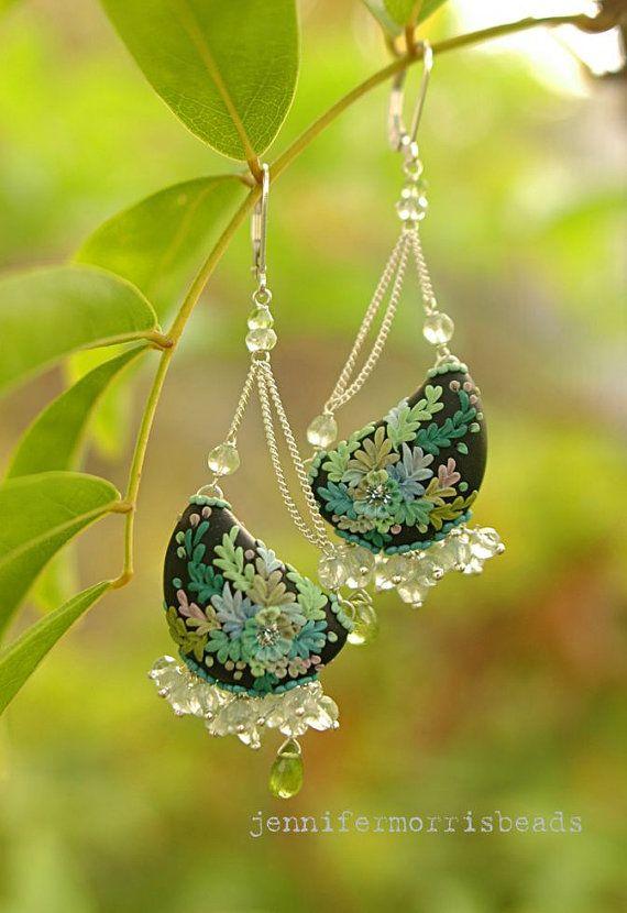 sweet fern song  lush dangle earrings by jennifermorrisbeads, $187.00