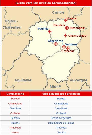 Commanderies templières dans le Limousin, France