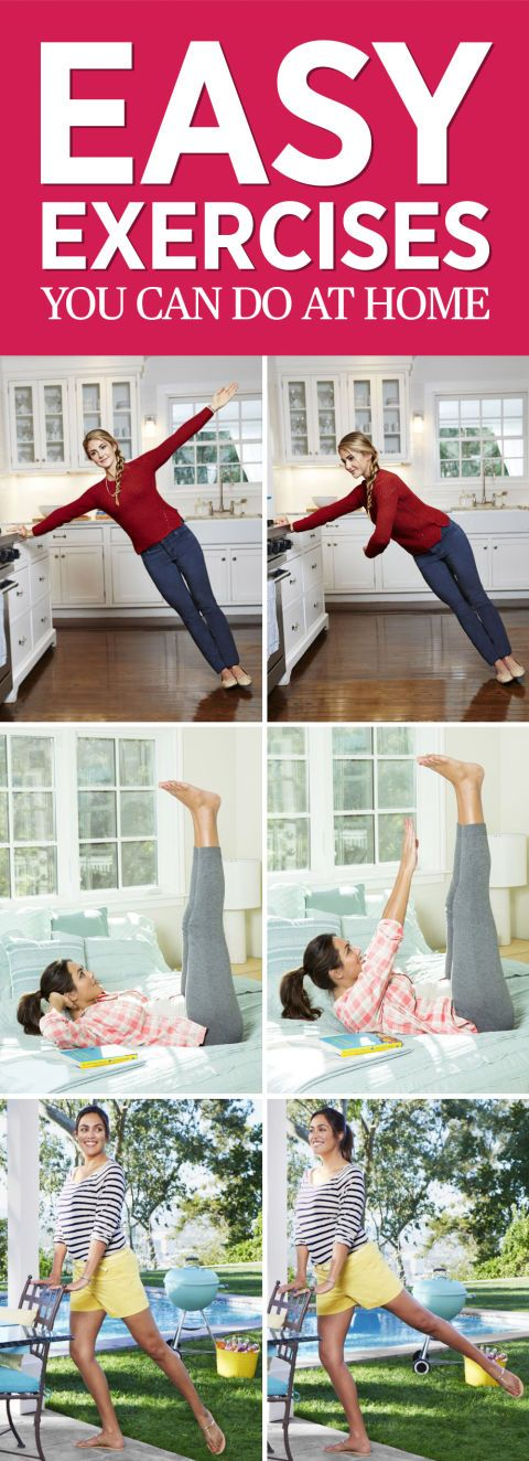 Easy at Home Exercise Guide: Sneak these easy fitness ideas into your daily schedule and you'll be in shape in no time—no gym membership required. Tone your abs, legs, arms, and core with this easy plan. Click through for the full workout information.