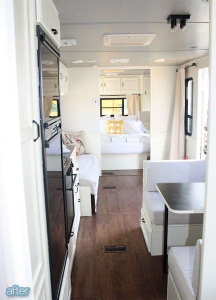 RV makeover. Pretty simple stuff, white painted walls and cabinets, gray painted ceiling, pretty accents and lovely bedding.