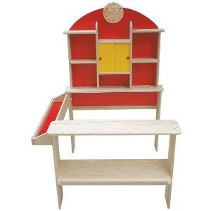Mobili in compensato per negozio (2 ante scorrevoli gialle, orologio in legno, parete rossa e teca laterale), 112 x 81 x 71 cm  EUR 53,82