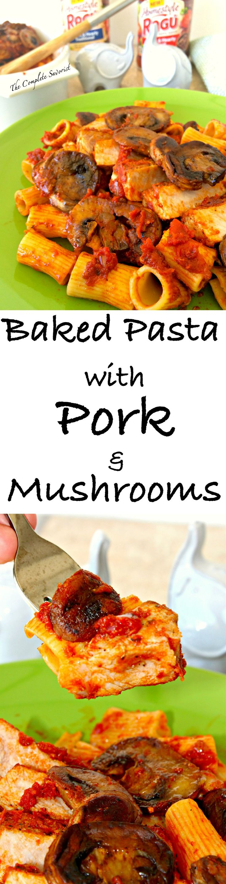 Baked Pasta with Pork and Mushrooms ~ Pan seared seasoned thick-cut pork chops, hearty tomato sauce, and tube pasta baked topped with sautéed mushrooms ~ The Complete Savorist #SimmeredinTradition ad