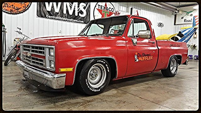 86 Red C10 Square Body Checy Lowrider Bagged V8 Short Bed Auto Rally Wms Gmc C10 Chevy Truck Chevy C10 87 Chevy Truck