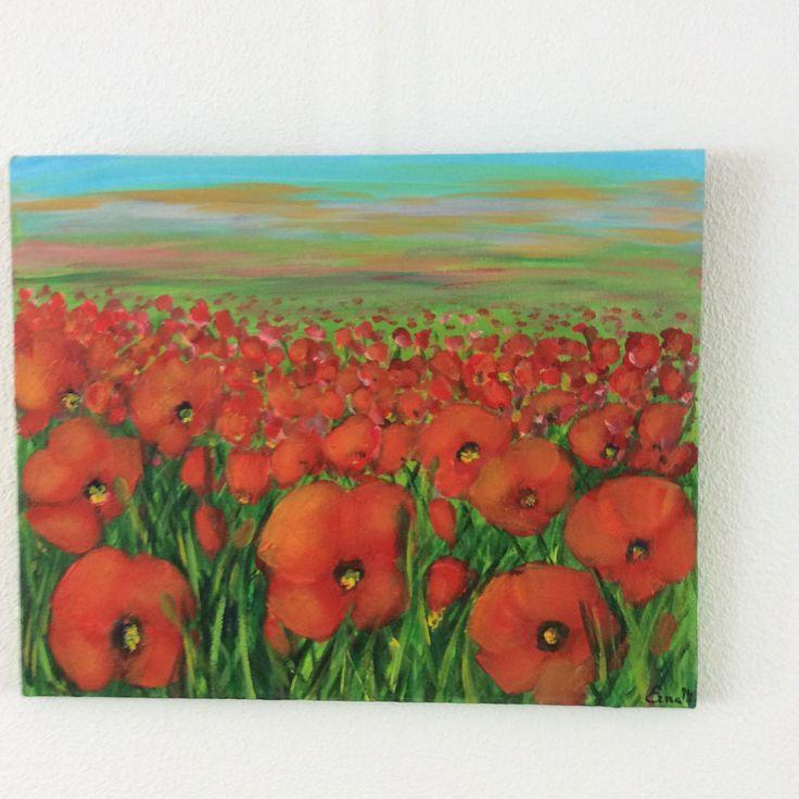 Klaprozen 40 x 50 cm.- acrylverf op  canvas door Erna Feijge