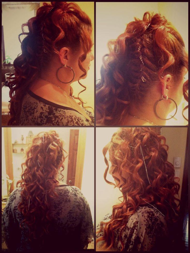 Wedding hair ! Curly hair with 2 braids !