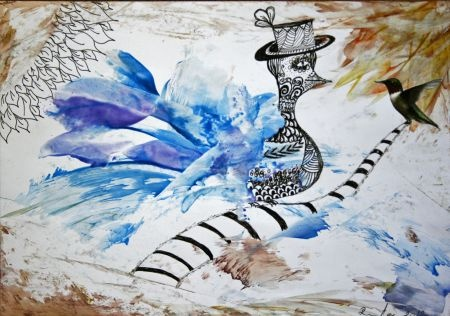 Plava ptica / Blue bird (zentangle style, encaustic, collage) by Renata Cekovic