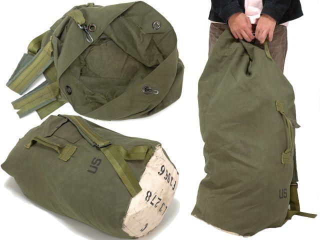 アメリカ陸軍の2ストラップタイプ大容量ダッフルバッグ。アメリカ軍US.ARMYダッフルバッグ 実物 大型大容量 ミリタリー GI