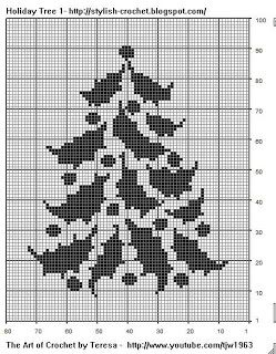 Free Filet Crochet Charts and Patterns: Filet Crochet Holiday Tree - Chart 1