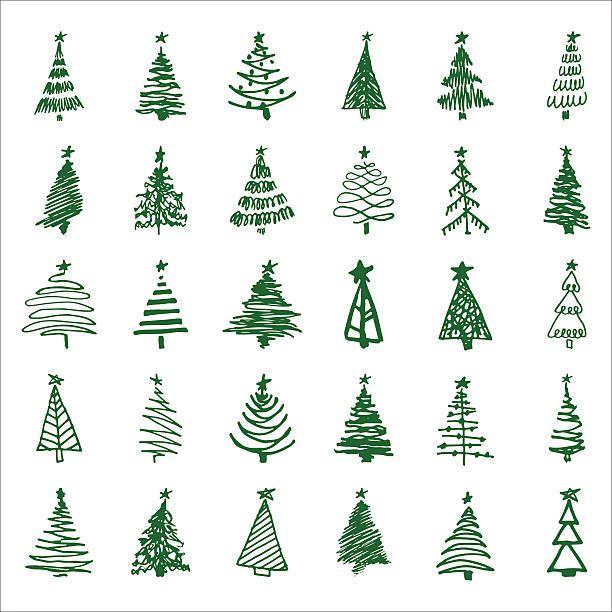 Set Hand Drawn Sketch Christmas And New Year Tree Vector Art Illustration Christmas Tree Drawing Christmas Tree Sketch Christmas Doodles