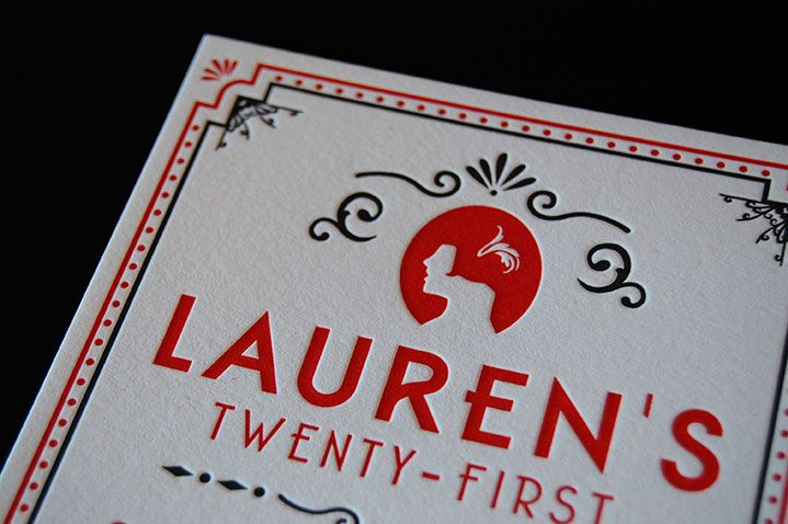 Roaring Twenties 21st {Letterpress} {Designed and Printed by Little Peach Co.} Two colour letterpress print on Crane & Co. Lettra Fluoro 300gsm. It was so fun to design and letterpress this ornate 1920s-inspired invitation for Lauren's 21st birthday party in Sydney. Feauturing a striking silhouette, this invite directed all eyes to the birthday girl!