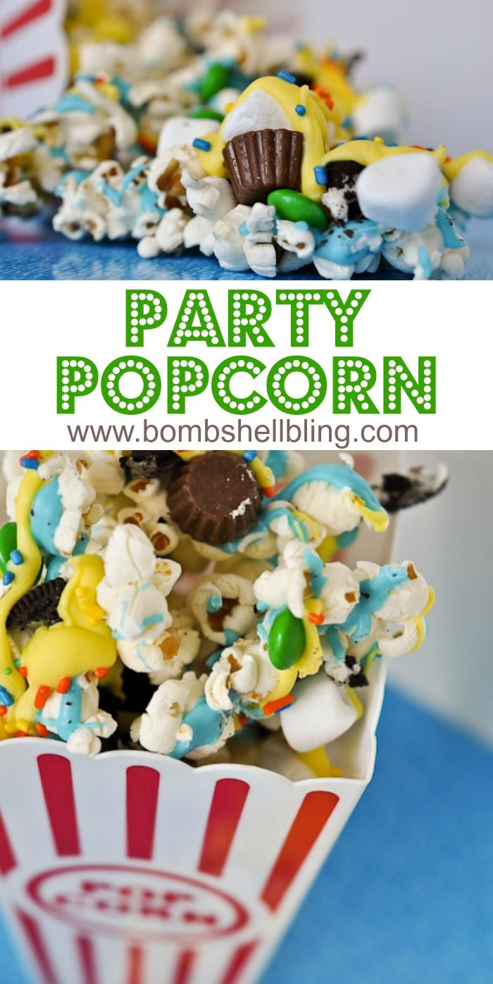 Party Popcorn is made with all of your favorite candies and perfect for kids and parties!