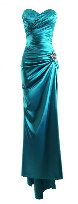 Amazon.com: Fiesta Formals Strapless Long Satin Evening Gown Bridesmaids Dress Prom Formal Dress w/ Brooch: Clothing