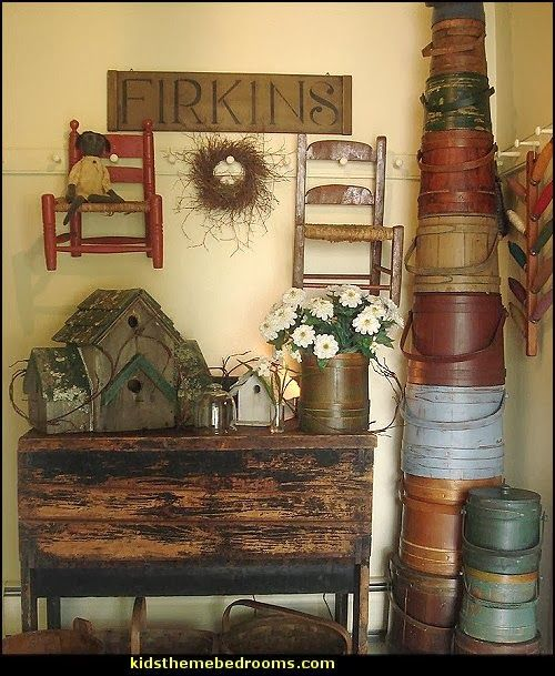 Good Primitive Americana Decorating Ideas Rustic Colonial Style Decorating Ideas    OMG Love All The Firkins!