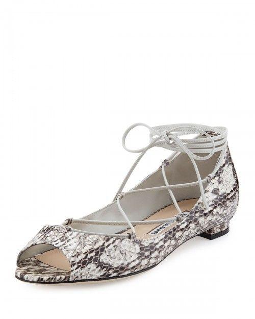 Manolo+Blahnik+Aneska+Snakeskin+Lace+Up+Open+Toe+Flats+Natural+36+5b+6+5b+|+Footwear