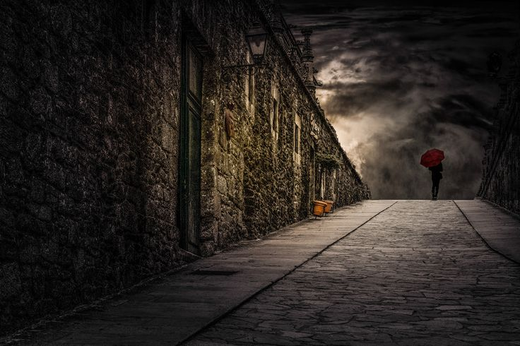 The Woman With the Red Umbrella by Vitor Santos