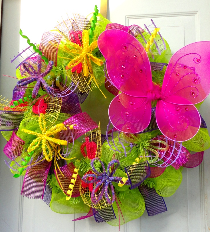 Spring Butterfly  Deco Mesh Wreath.