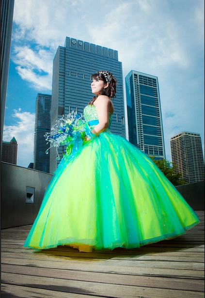 Amazing Neon Blue And Green Quince Dress P Quince
