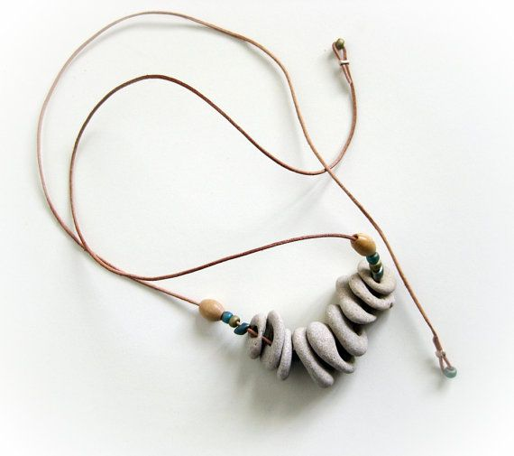 Natural drilled beach stones pebbles necklace - Beach Jewelry FREEN SHIPPING on Etsy, $29.90