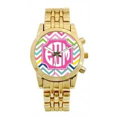 Personalized Gold Plated Stainless Steel Boyfriend Watch in Multi Chevron Pattern fun for girls, tweens, teens!