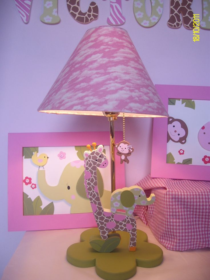 Girl Jungle table lamp for nursery room decor