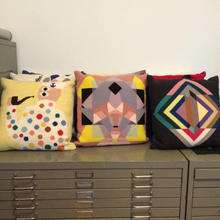 Cushions from my book Crossstitch Now - Korssting NU - om contemporary embroidery #korsstingnu #crossstitchnow