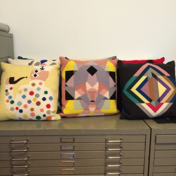 Cushions from my book Crossstitch Now - Korssting NU - om contemporary embroidery #korsstingnu #crossstitchnow