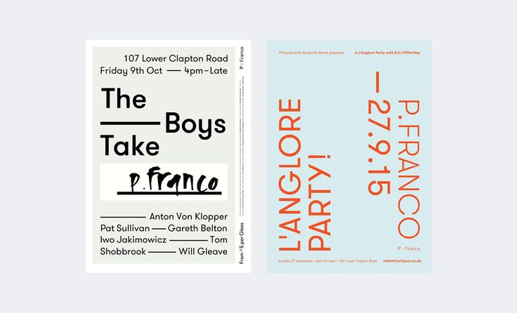 Posters for recent events at P.Franco, wine bar — East London.