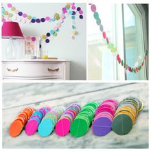 2015 Colorful Hanging Paper Garlands String Chain Wedding Party Birthday Kids Decoration Round Shape New Free Shipping(China (Mainland))